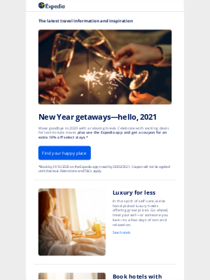 Expedia - Wave goodbye to 2020 and find your 2021 happy place