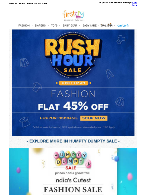 Rush Hour Sale > Get Flat 45% OFF
