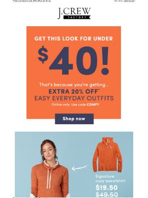 J.Crew Factory - Get this look for under $40 with code COMFY (seriously!)