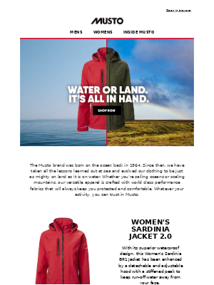 Musto UK - Water or land. It's all in hand