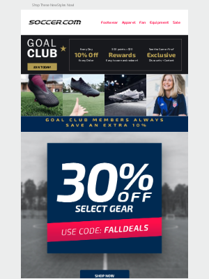 SOCCER - EXTRA 30% Off Select Soccer Gear + Free Shipping on Orders $99+