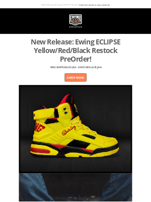 Ewing Athletics - New Release: Ewing ECLIPSE Yellow/Red/Black!