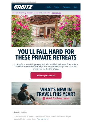 Orbitz - Check out these romantic hideaways, just for the two of you ❤️