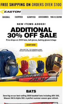 Easton Slowpitch - Additional 30% Off Sale & 👀 New Items Added!