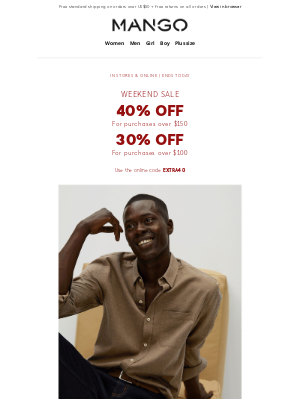 MANGO (US) - Final Hours of the WEEKEND SALE! 40% and 30% off!