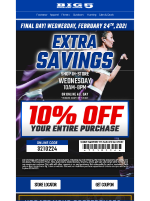 Big 5 Sporting Goods - Last Day! Take 10% Off Now!