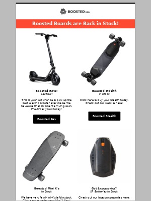 Boosted Boards are Back in Stock