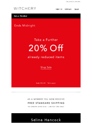 Ends Tonight   Take a Further 20% Off Sale Styles