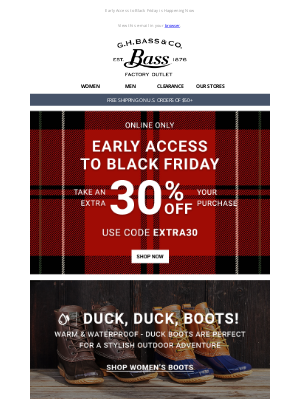 G.H. Bass & Co. - It's Duck Boot Season + EXTRA 30% OFF EVERYTHING