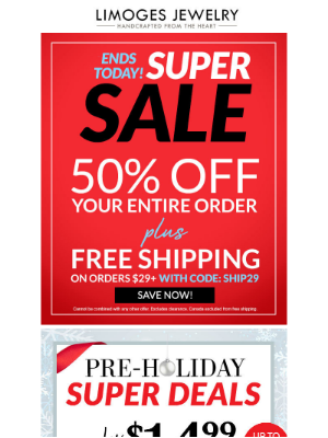 Limoges Jewelry - ENDS TODAY | $15 Super Deals + Free Shipping