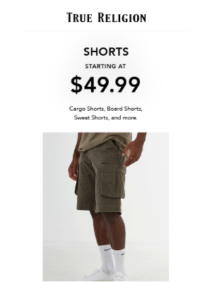 True Religion - Shorts & Jeans Sale + Extra 50% Off Ends Soon!