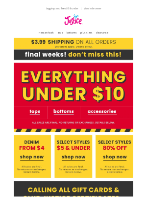 Justice - EVERYTHING under $10 + denim from $4!