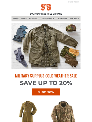 Sportsman's Guide - Save up to 20%: Military Clothing to Warm any Winter Soldier