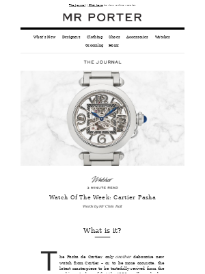 MR PORTER - Why Cartier Pasha is MR PORTER's watch of the week