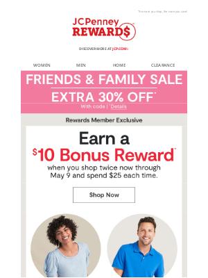 JCPenney - Easy money: Earn a $10 Bonus Reward!