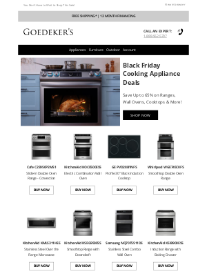 Goedeker's - Black Friday Cooking Appliances Deals Up to 65% Off!