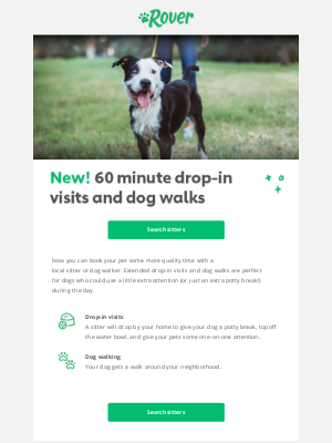 This just in: 60 min drop-in visits and dog walks