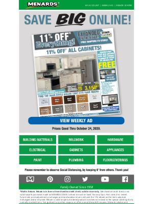 Menards - Major 11% OFF* Savings + Online Only!