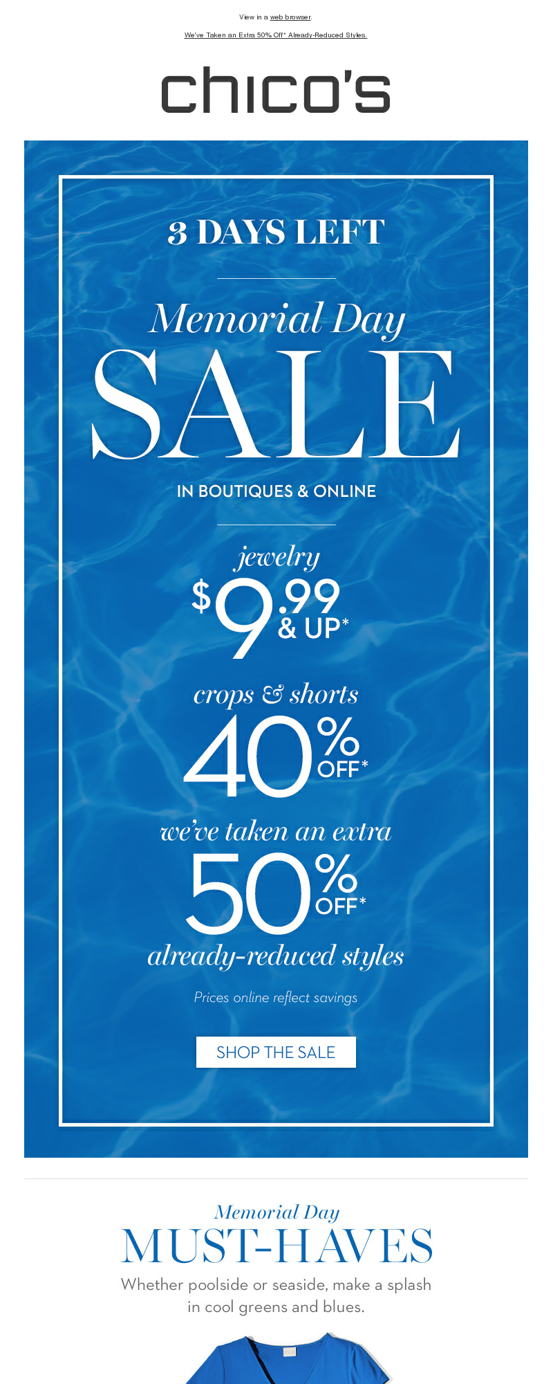 View in a web browser. We've Taken an Extra 50% Off* Already-Reduced Styles