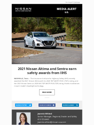 Nissan - 2021 Nissan Altima and Sentra earn safety awards from IIHS