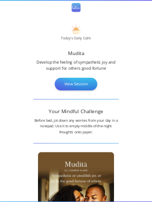 Calm - Sunday's Daily Calm: Mudita