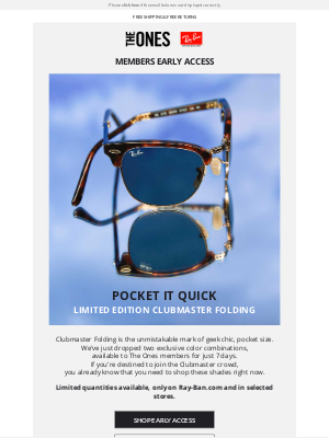 Ray-Ban - Members early access // Clubmaster Folding Exclusive