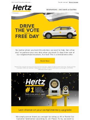 Hertz - DRIVE the VOTE; Here's how!