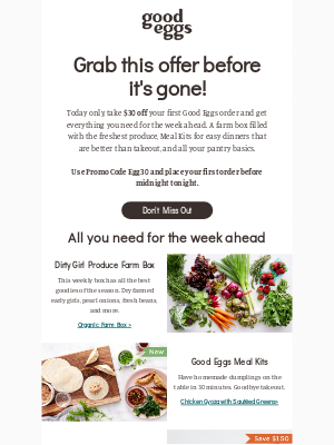 Good Eggs - Today only — get $30 off your first order