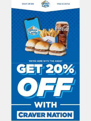 White Castle - Save 20% now through 4/4 through Craver Nation