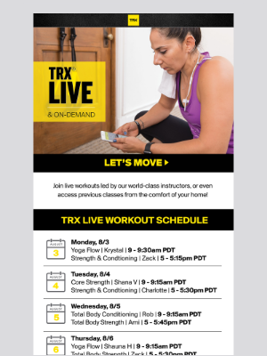 TRX LIVE & On-Demand: Serving Up Workouts Daily!