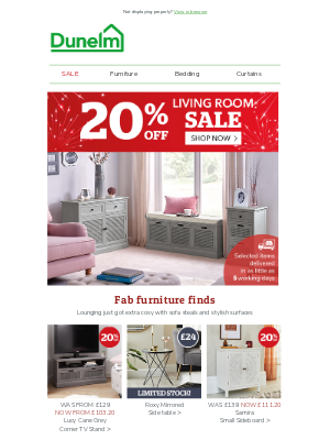 Dunelm (UK) - Quick living room refreshes with 20% off