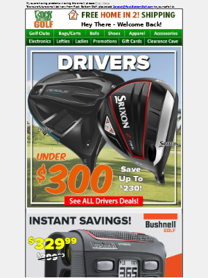 Rock Bottom Golf - 💥 Drivers UNDER $300 Plus FREE 🏠 IN 2 Shipping! 💥