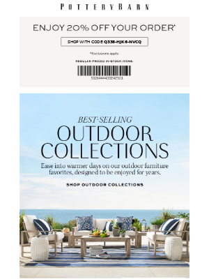 Get 20% Off, On Us + Our Best-Selling Outdoor Collections