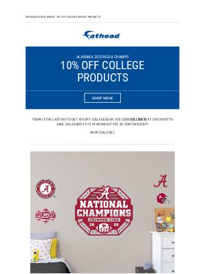 Fathead - Roll Tide! Get 10% Off NCAA Championship & College Gear 🏆