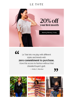 20% off + bye-bye buyer's guilt