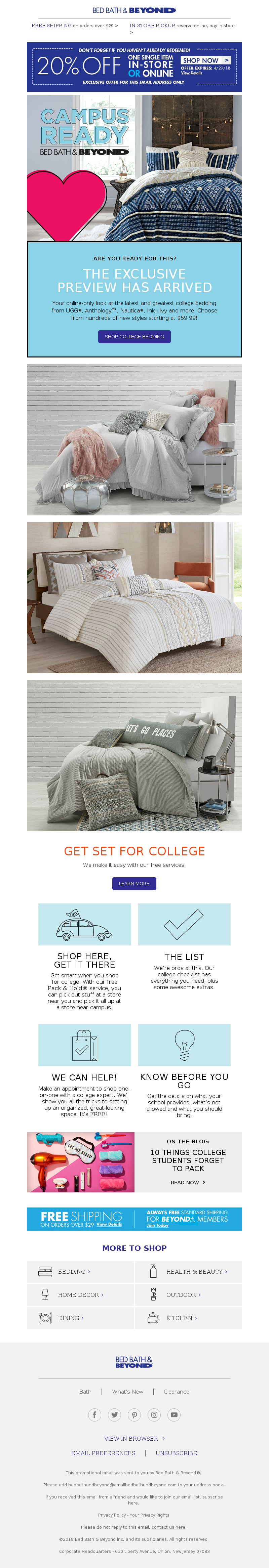 email example for back to school sent by Bed Bath & Beyond