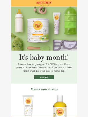 Burt's Bees - Save 10% on Baby all month long!