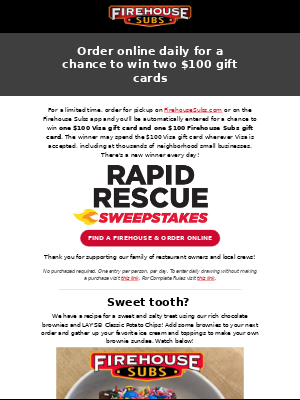 Order online daily for a chance to win two $100 gift cards!