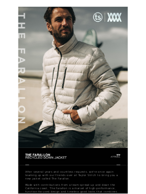 Mission Workshop - [New] The Farallon — Recycled Down Jacket // MISSION WORKSHOP x TAYLOR STITCH