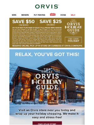 Orvis - This is it! Last chance to save up to $50!