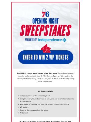 Philadelphia 76ers - Win Tickets to Opening Night!