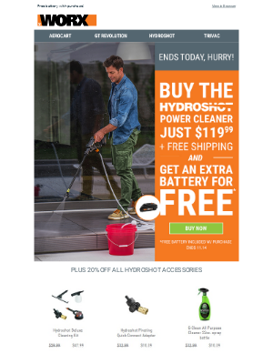 Last day! Hydroshot just $119.99 + Free Extra Battery