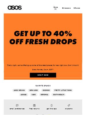 Up to 40% off the latest drops