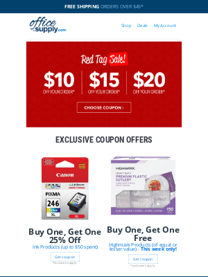 OfficeSupply.com - *ahem* BOGOs and up to $20 off!!