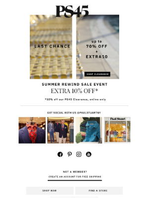 Paul Stuart - Last day to take Extra 10% off SALE
