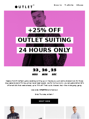 Extra 25% off sharp suiting