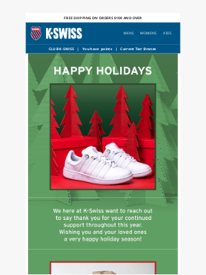 K-Swiss - Happy Holidays & FYI: We're Moving!