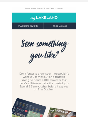 Lakeland (UK) - Last days to Spend & Save