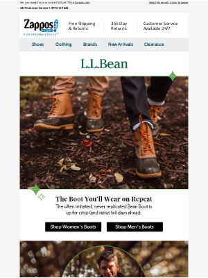 Zappos - Boot Up in L.L.Bean Staples for Everybody