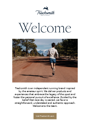 Welcome email example from Tracksmith's